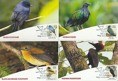 India 2016 Birds Series 1 : Near Threatened Set Of 4 Max Cards Stamped Rare