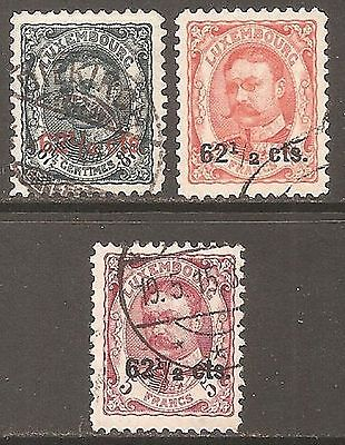 1912-15 Luxembourg William IV Surcharges SG 173-173b Used (Cat £16)
