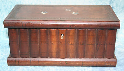 Antique Japanese Inlaid Wood Double Tea Caddy modelled as shelf of books Box