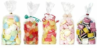 """50 x Clear cello bags, gusset, cellophane, Party, Gifts, Sweets - 10 x 5 x 2.5"""""""