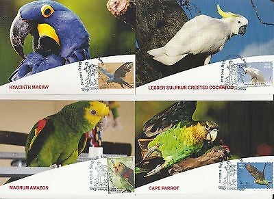 India 2016 Exotic Birds Set Of 6 Max Cards First Day Cancelled & Stamped