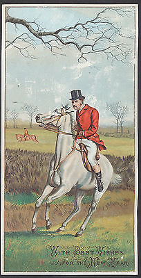 C633 Large Victorian New Year Card: Hunter