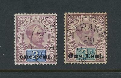 SARAWAK 1889, ONE CENT on 3c, BOTH TYPES, VF USED SG#22-3 (SEE BELOW)