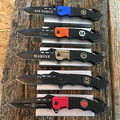 "5PC Military Assorted Set 8.5"" Spring Assisted Open TACTICAL Pocket Knife"