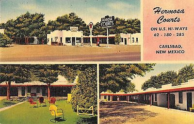 Hermosa Courts Carlsbad New Mexico 1940s Linen Postcard Roadside Motel
