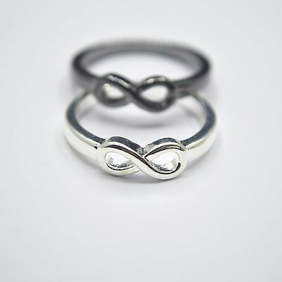 Shiny 925 Sterling Silver PL/Black INFINITY Friendship Love Wish Band Ring Gift