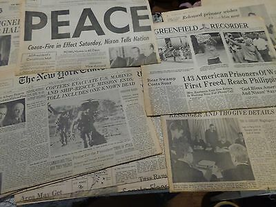 Large lot of Vintage Newspapers about Vietnam War 1972 1973 1975 1979