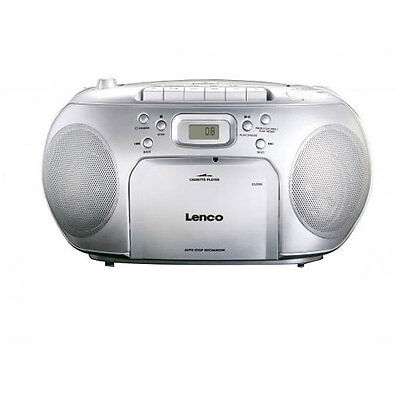 Lenco SCD-420 Silber Kofferradio FM Radio CD-Player Kassettenplayer