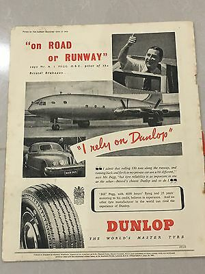 Rare A4 Colour DUNLOP Fort 90 Tyre Vintage Advert 1951 L93 'Road or Runway'