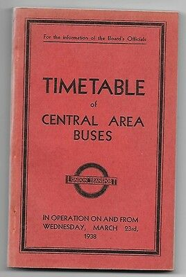 London Transport Central Area Buses Timetable 23.3.1938