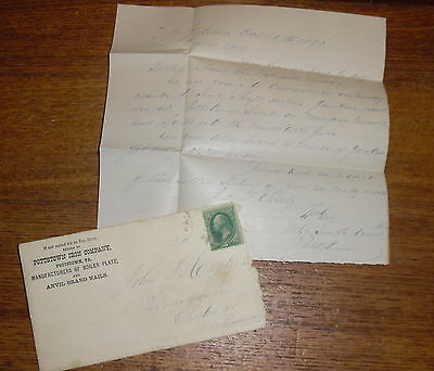 Antique 1891 Letter Pottstown Iron Company Pennsylvania About The Hopewell Mine