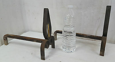 Ancienne Paire CHENETS Fer Forge Laiton XXe Art Deco old wrought iron Cheminee J
