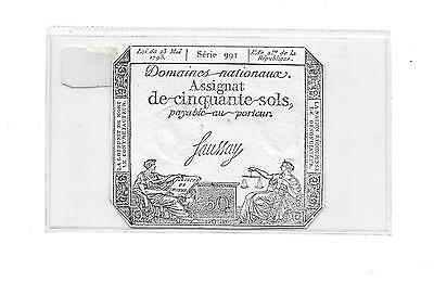France-French Revolution 1793- 50 Sols Note