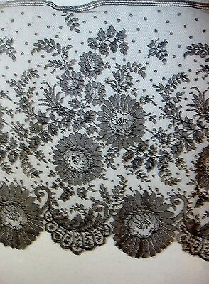 "Antique Black Chantilly Lace Trim 13"" by 60"" Very Nice Condition Floral"