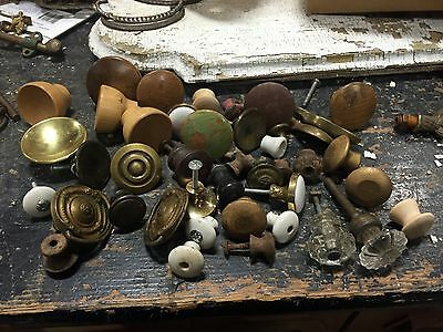lot of vintage wooden - metal & porcelain pulls - all for ONE PRICE - free SHIP