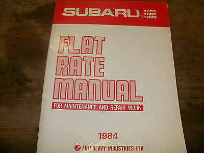 Genuine Subaru 1300 1600 1800 Flat Rate Manual  1984 Part Number H128Dfa