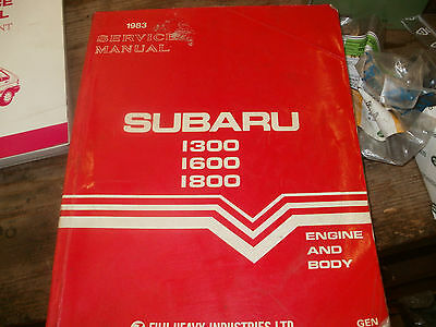 1983 Genuine Subaru 1300 1600 1800 Workshop Manual Pt No G124Dea Engine And Body