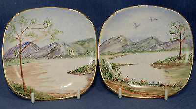 Pair of Sandland Ware Hand Painted Saucers in Landscape signed N Lindsay