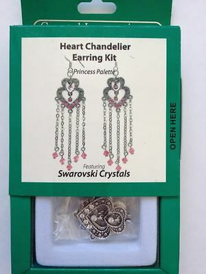 Earrings Kit Crystal Innovations Heart Chandelier Clear White Swarovski Crystals