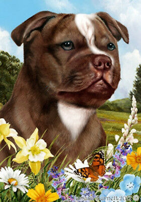 Large Indoor/Outdoor Summer Flag - Choc & White Staffordshire Bull Terrier 18244