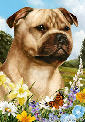 Large Indoor/Outdoor Summer Flag - Fawn Staffordshire Bull Terrier 18245
