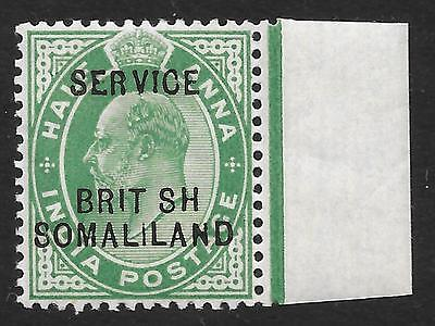 """Somaliland 1903 ½a Green Official with """"BRIT SH"""" Error SG 06a (Mint)"""