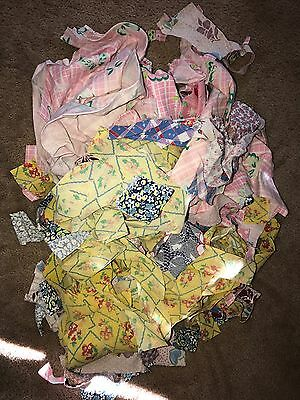 Vintage FEED SACK Fabric Quilt Sewing Scraps LOT
