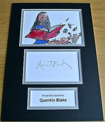 Quentin Blake Hand Signed Autograph A4 Photo Display Matilda Art Gift & Coa