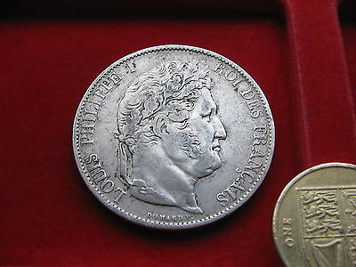 Large France Silver Coin, 1844 W, Lille Mint, 5 Francs Louis Philippe Nice Grade
