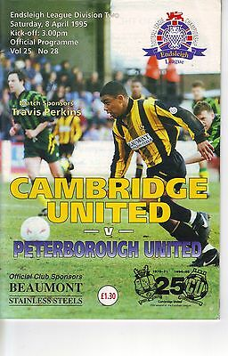 Cambridge United v Peterborough United 1994/95  division 2