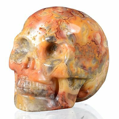 "1.93""Natural Crazy Lace Agate Hand Carved Smiling Skull,Collectibles #22W06"