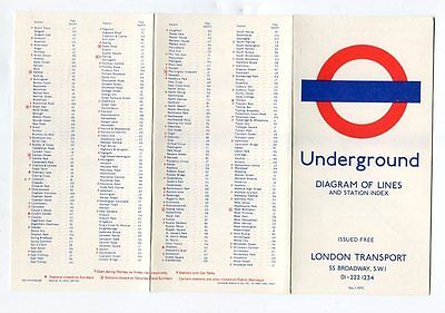 London Transport Underground: Diagram of Lines: card map: No 1, 1972