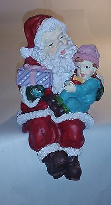 Large Vintage Father Christmas Ornament. Child's Gift. Sits on Edge of Shelf