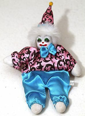 """10"""" Porcelain Collectible Clown Doll Stuffed Silky Clothes Ceramic Head"""