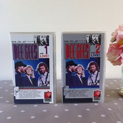 Bee Gees Signed **one For All Tour Live** Videos Vol 1 & 2 1990 Rare Authentic