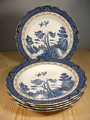 """Booths """"Real Old Willow"""" Five Wide Bowls"""