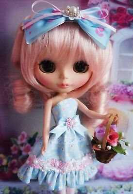 PF 92#  Neo Blythe Doll Handmade Pink Floral Dress 1 Piece
