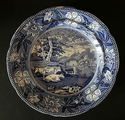 Early 19th C. Blue & White Transfer 'Cattle Scene' Pearlware Plate