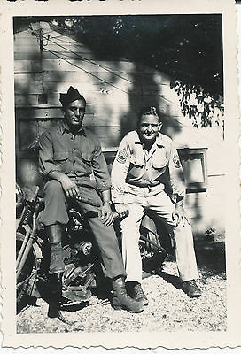 WWII 1940s US Army  GI's &  Army Motorcycle Photo #4