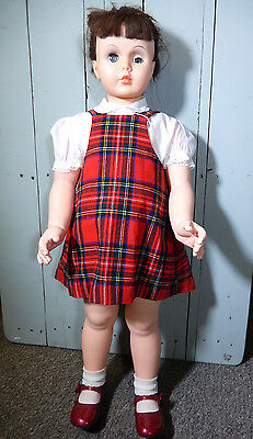 Playpal Doll S9 Red Plaid Jumper Dress Shoes Brown Hair 36""