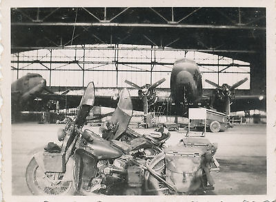 WWII 1940s  USAAF 2 airplanes &  2  Motorcycles inside hanger Photo #10