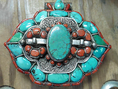 Antique LRG TIBETAN GAU PRAYER BOX Sterling 950 Himalayan Red Coral & TURQUOISE
