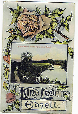 1909 Hand Coloured Postcard: Kind Love From Edzell, Angus Scotland