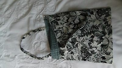 "Handmade Reversible cotton fabric bag. 10"" x 8"". Grey floral/Grey check"