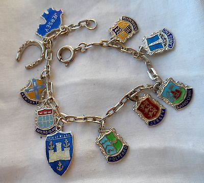 Vintage 60/70s Sterling Silver Country ENAMELED 10 CHARM Bracelet