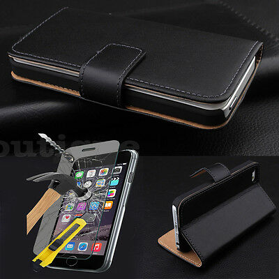 Black Cover Slim Leather Case For iPhone 5C Free Tempered Glass