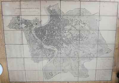 Large Antique Engraved Map Of City Of Rome 1.6 X 1.2 Metres 1866