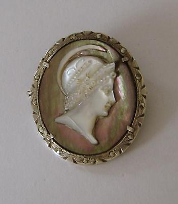 A Ladies Solid Silver, Mother Of Pearl, Marcasite, & Abalone Shell Cameo Brooch