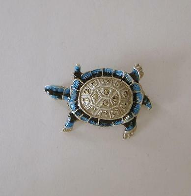 A Vintage French Solid Silver & Enamel & Marcasite Turtle Brooch