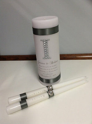 Personalized Unity Candle with Rhinestone Embellishment for your wedding